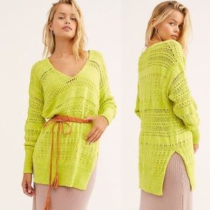 Free People Hot Tropics Lime V-neck Sweater